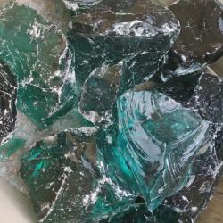 Bryły szklane turkusowe